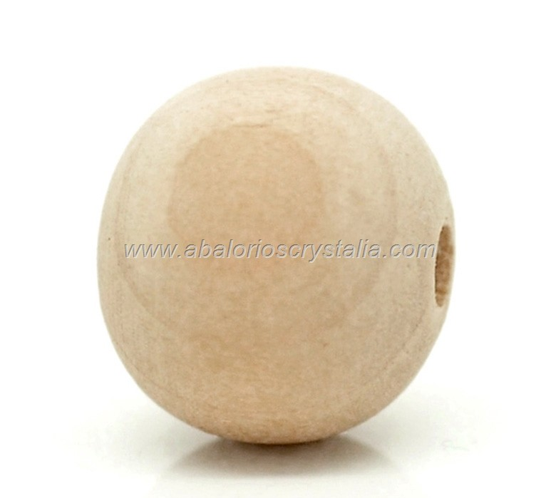 10 BOLAS DE MADERA COLOR NATURAL 14x13mm