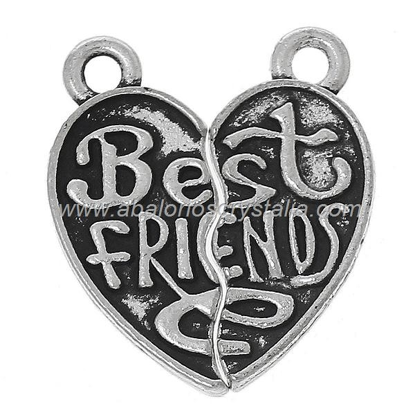 CORAZÓN DIVISIBLE Best friends PLATA ANTIGUA 22x10mm