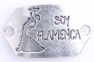 CONECTOR Soy flamenca PLATA ANTIGUA 42x26mm