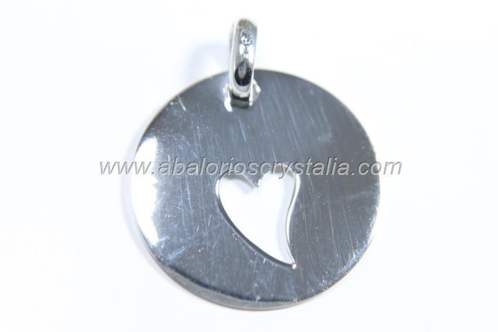 Colgante corazón calado 20mm + anilla plata 925
