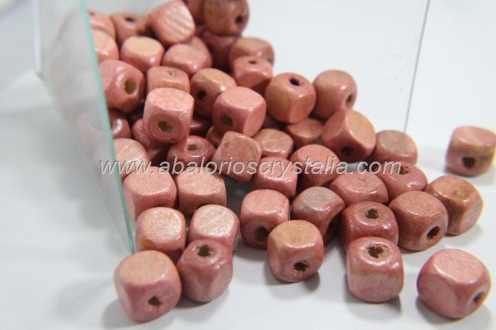 25 CUBOS DE MADERA 10mm SALMON