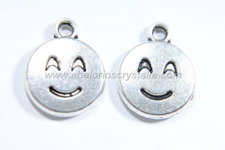 10 COLGANTES EMOTICONO PLATA ANTIGUA 15x12mm. (mod 3)