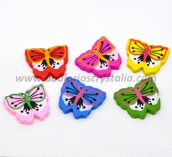 5 MARIPOSAS DE MADERA MIX DE COLORES 30x26mm ref: 296