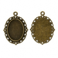 5 COLGANTES MINI CAMAFEOS BRONCE 18x13mm (base 10x8mm)