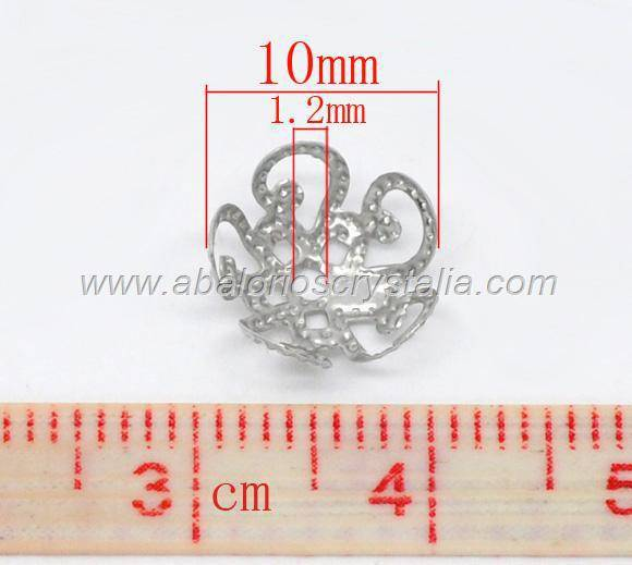 20 CASQUILLAS FILIGRANAS PLATA ANTIGUA 10x4mm