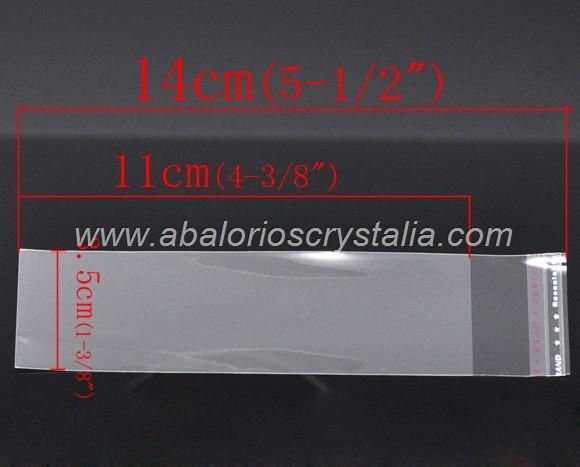 25 BOLSAS DE PLÁSTICO CON CIERRE AUTO ADHESIVO 14x3.5cm