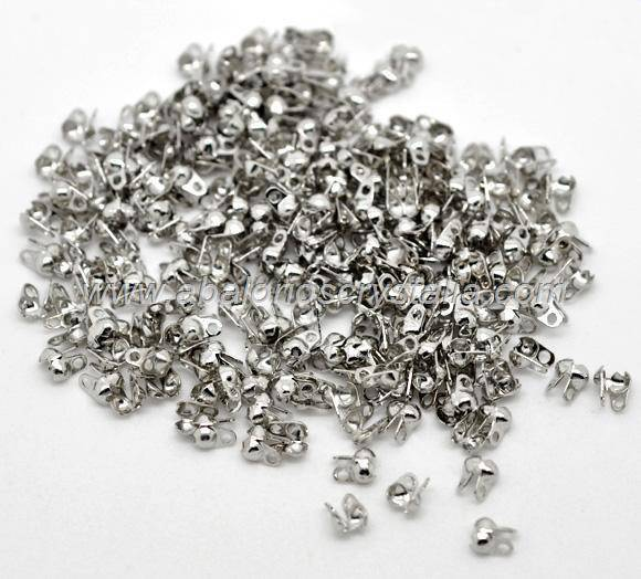 50 MINI TAPANUDOS PLATA ANTIGUA  4x2.5x2mm (apto cadena bolas 1.5mm)