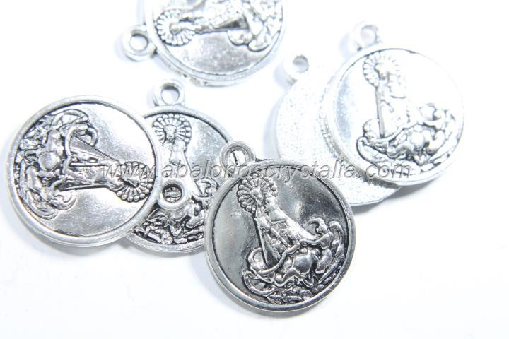 5 MEDALLAS VIRGEN PLATA ANTIGUA 22x19mm