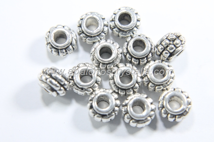 10 ABALORIOS ESPACIADOR BARRIL PLATA ANTIGUA 7x7x5mm