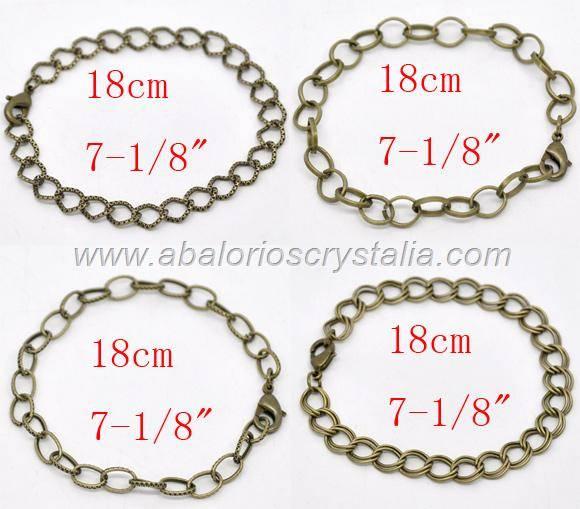 4 CADENAS-PULSERA BRONCE ANTIGUO CON MOSQUETÓN 18 CM (INCLUYE 4 MODELOS)