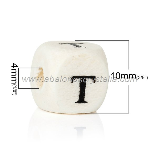 10 CUBOS DE MADERA abc LETRA T COLOR NATURAL BLANCO