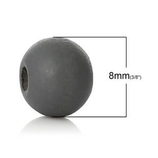 25 BOLAS DE MADERA GRIS OSCURO, 8mm