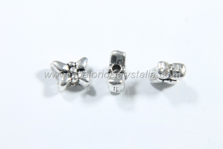20 MARIPOSAS PLATA ANTIGUA 6x5x3mm