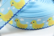 1 METRO DE CINTA GROSGRAIN ESTAMPADO PATITOS 22mm