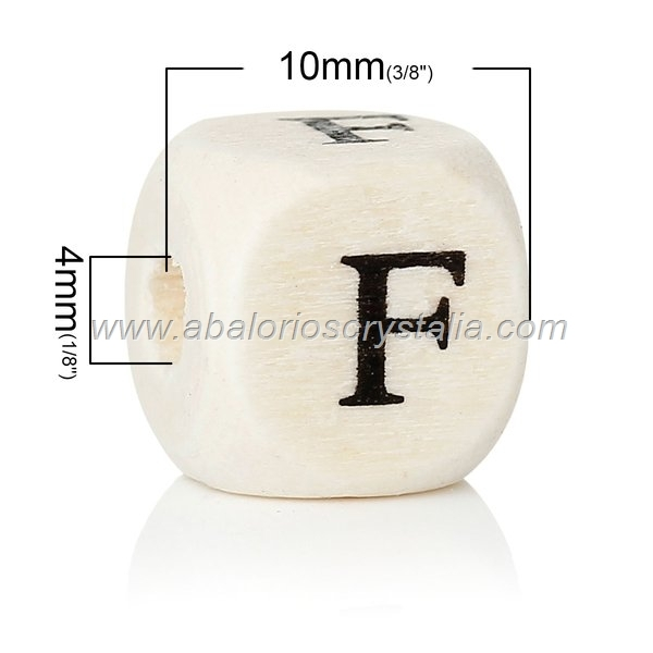 10 CUBOS DE MADERA abc LETRA F COLOR NATURAL BLANCO