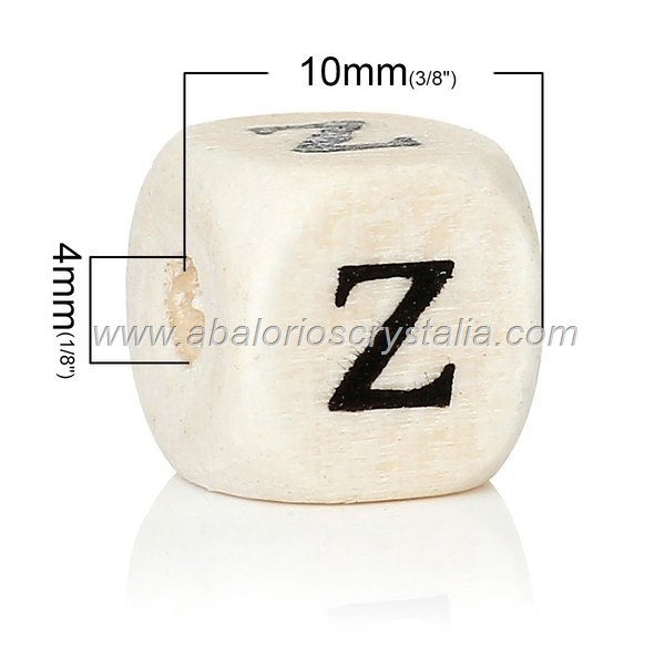10 CUBOS DE MADERA abc LETRA Z COLOR NATURAL BLANCO