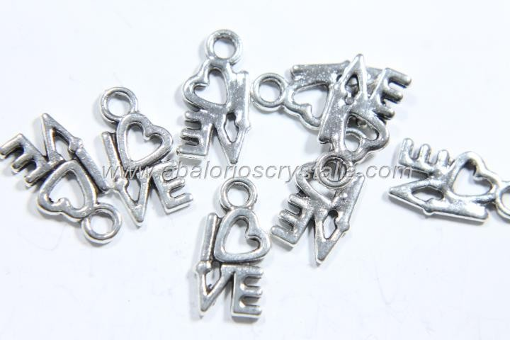 10 COLGANTES LOVE PLATA ANTIGUA 15x8mm