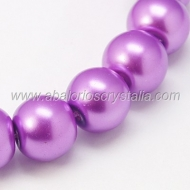 20 PERLAS DE CRISTAL COLOR MORADO 8mm
