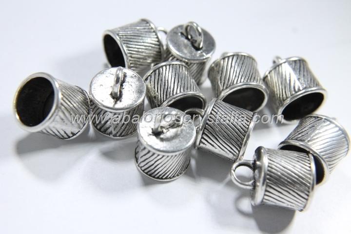 5 CAPUCHONES RAYAS PLATA ANTIGUA 16x12mm (interior:10mm)