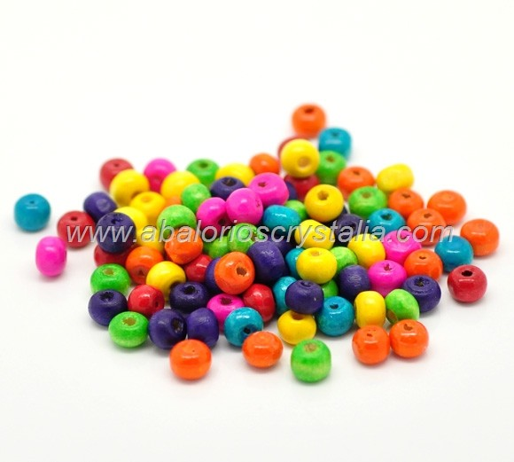 100 BOLAS DE MADERA MIX COLORES 6x5mm