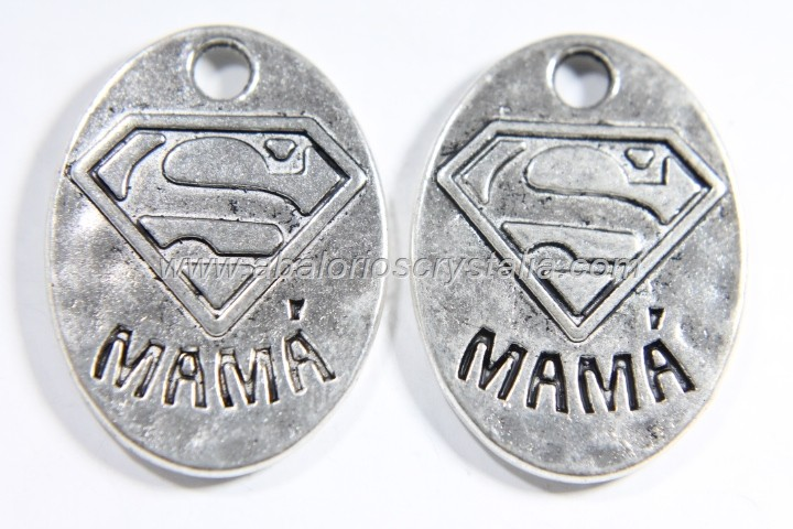 5 COLGANTES SUPER MAMÁ PLATA ANTIGUA 25x18mm