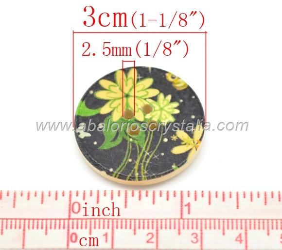 MIX DE 10 BOTONES DE MADERA 4 AGUJEROS 3cm