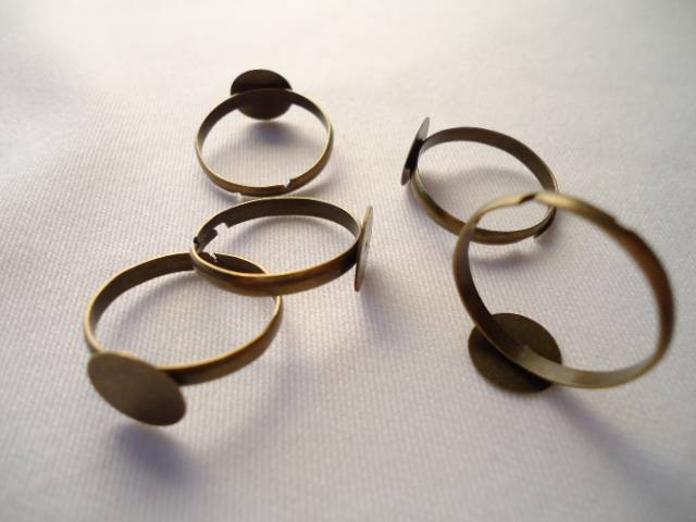 5 BASES DE ANILLO AJUSTABLES BRONCE ANTIGUO (Base de 10 mm)