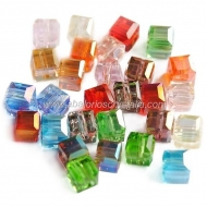 10 CUBOS CRISTAL TIPO AUSTRIACO MIX DE COLORES6x6mm