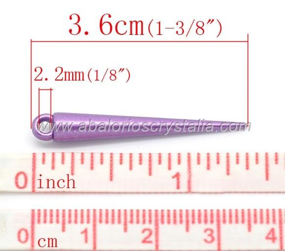 12 PINCHOS COLGANTE ACRÍLICOS MIX DE COLORES 3.6x0.5cm