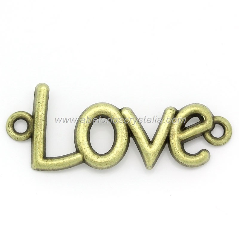 5 CONECTORES LOVE BRONCE 40x15 mm