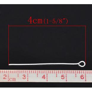 50 BASTONES CABEZA DE ANILLA 4cm (40mm) PLATA ANTIGUA