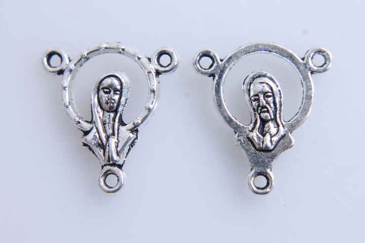 5 CONECTORES TRIPLES VIRGEN/JESÚS PLATA ANTIGUA 20x18mm