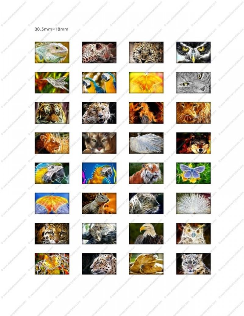 LÁMINA CON 32 IMÁGENES 30.5x18mm Animales