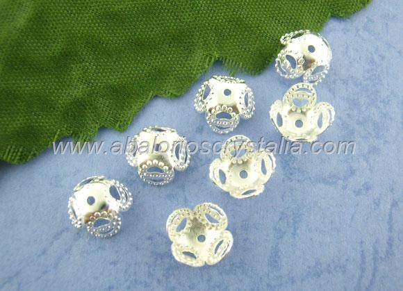 20 FILIGRANAS PLATEADAS 9x9x6mm