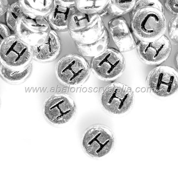 FICHAS ACRÍLICAS METALIZADAS 7x7mm LETRA H (5 uds.)