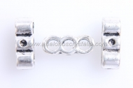 10 BARRAS ESPACIADORAS 3 VIAS PLATA ANTIGUA 14x5mm