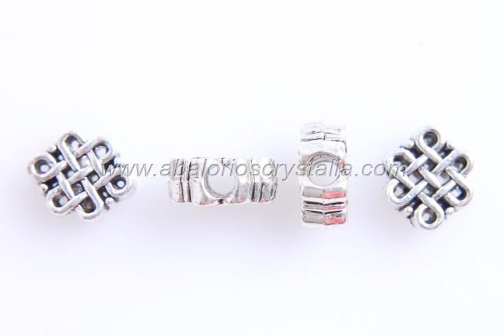 5 ABALORIOS FLOR PLATA ANTIGUA 11x9mm (Paso:3mm)