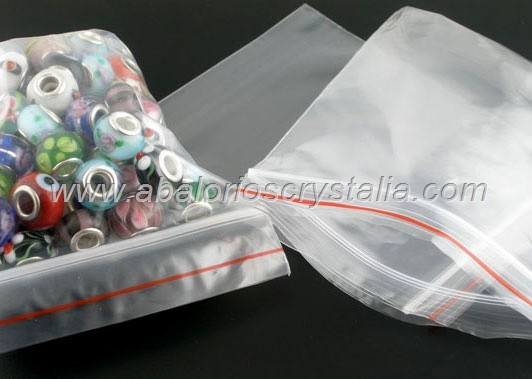 50 BOLSAS DE PLASTICO TRANSPARENTE CIERRE ZIP 7x5cm