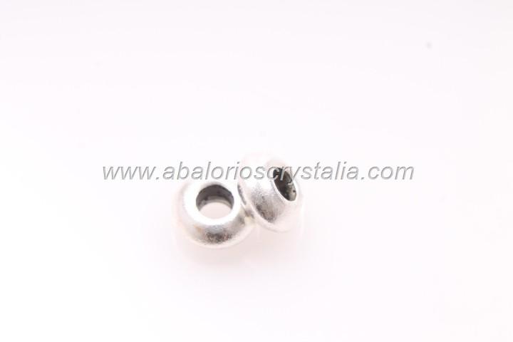 10 ABALORIOS ARANDELA PLATA ANTIGUA 8x3mm