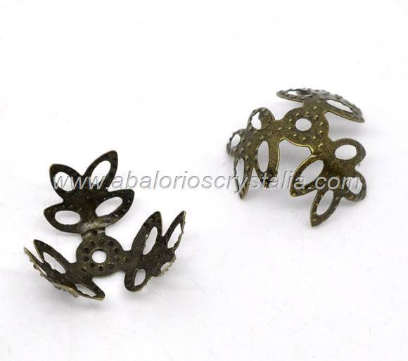 20 FILIGRANAS BRONCE 3 PÉTALOS 14x14mm