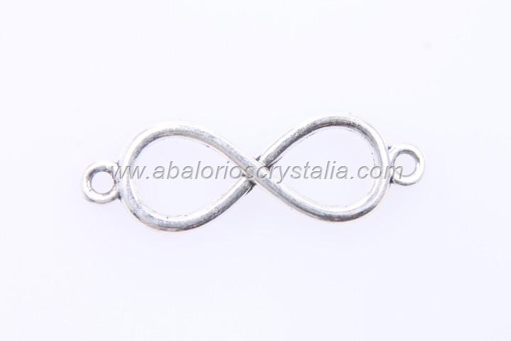 10 CONECTORES INFINITO PLATA ANTIGUA 30x10mm
