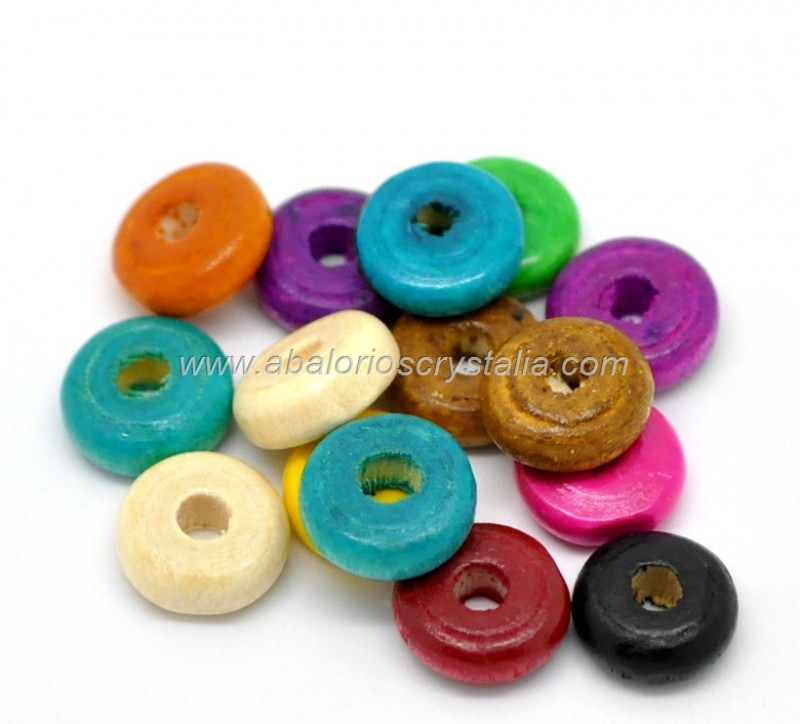 25 DONUTS DE MADERA 10x4 mm MIX DE COLORES