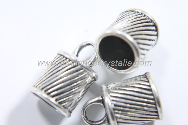 5 CAPUCHONES PLATA ANTIGUA CON ANILLA  15.5x10mm