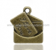 COLGANTE CARTA I LOVE YOU BRONCE 18x16mm