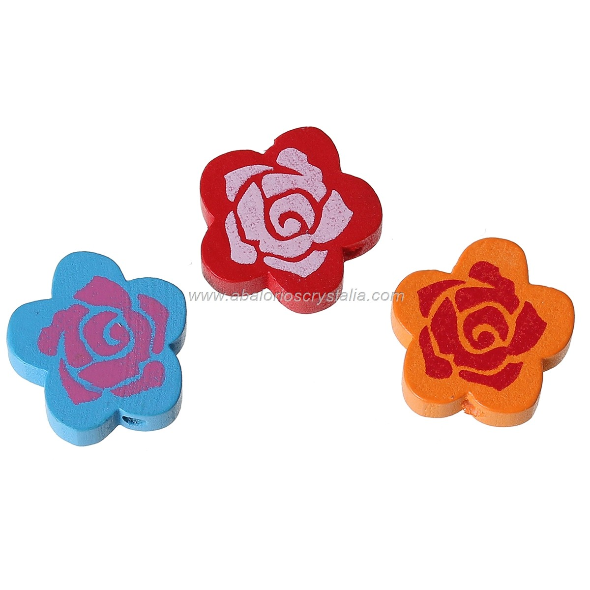 5 FLORES DE MADERA MIX DE COLORES 20x19mm