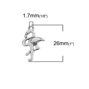 5 COLGANTES FLAMENCO PLATA ANTIGUA 26x16mm