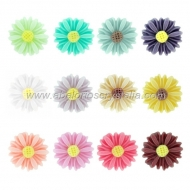 LOTE CABUCHONES FLOR RESINA BASE PLANA 13x13x4mm 12 COLORES