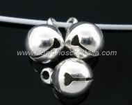 10 CASCABELES METÁLICOS PLATEADOS 8 mm