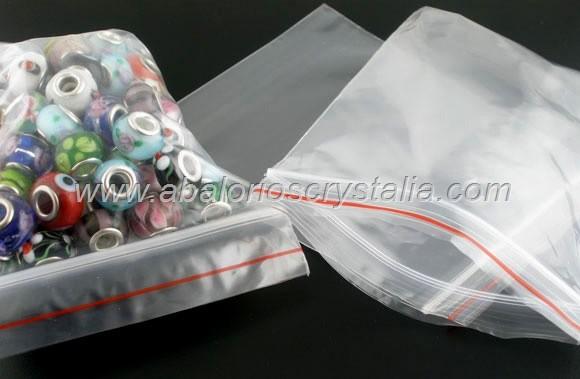 50 BOLSAS DE PLASTICO TRANSPARENTE CIERRE ZIP 6x4cm