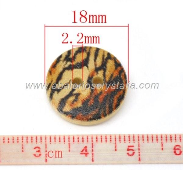 5 BOTONES DE MADERA 2 AGUJEROS 5 MODELOS 18mm